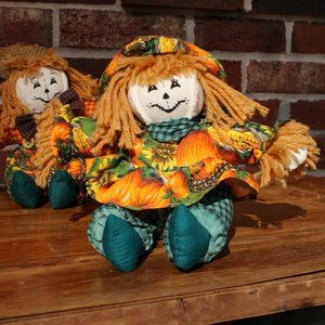 "Rustic Pumpkin Themed 6"" Dolls Halloween Decor"